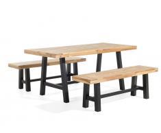 Gartenmöbel Schwarz-Braun - Balkonmöbel - Terrassenmöbel - Holz - Tisch + 2 Bänke - SCANIA