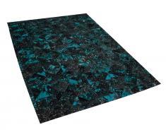 Teppich Leder schwarz/türkis 140 x 200 cm ATALAN
