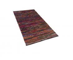 Teppich Bunt-Schwarz - 80x150 cm - Baumwolle - Läufer - Wohnzimmerteppich - BARTIN