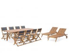 Gartenmöbel Set Holz 8-Sizer Textilene dunkelgrau 2 Liegen CESANA