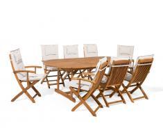Gartenmöbel Set Holz 8-Sitzer mit Auflagen beige MAUI