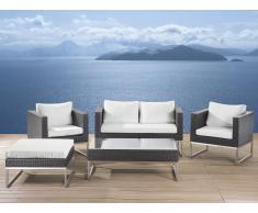 Gartenmöbel Set braun - Edelstahl und Rattan- Tisch - Sofa - 2x Sessel - Ottoman - CREMA