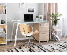 Schreibtisch weiss/heller Holzfarbton 130 x 60 cm MONTEVIDEO