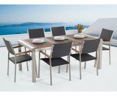 Gartenmöbel Set Holz 180 x 90 cm 6-Sitzer Stühle Rattan GROSSETO