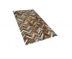 Teppich Braun-Beige-Blau - Patchwork - Lederteppich - Kuhfell - Läufer - 80x150cm - AMASYA