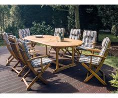 Gartenstuhl Holz mit Auflage dunkelblau-beige gestreift MAUI