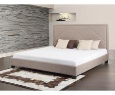 Bett Beige - Doppelbett 180x200 cm - Ehebett - Polsterbett - MARSEILLE