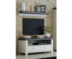 LAVENTE TV-Lowboard + Wandboard SET Kiefer teilmassiv weiß - trüffel