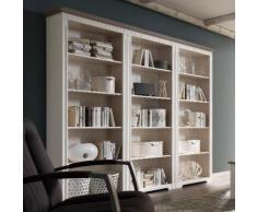 CORDOBA Regal-Bibliothek 243 cm Kiefer massiv weiß/taupe