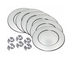 Platzteller-Set incl. 6 Serviettenringe silber, spülmaschinengeeignet, ChG