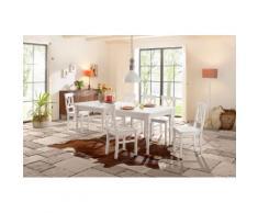 Home affaire Essgruppe »Merida« weiß, 110/68cm & 4er-Pack Stühle, FSC®-zertifiziert