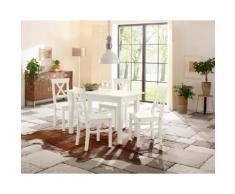Home affaire Essgruppe weiß, 160-199/80cm & 4er-Pack Stühle, »Madrid«, FSC®-zertifiziert