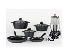 KRÜGER Aluguss-Kochserie 15-teilig schwarz, Ø 16, 20, 20, 24, 28 plus Küchenhelfer-Set
