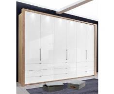 Panorama-Falttürenschrank mit Glasfront in 3 Breiten beige, Breite 300cm, »Loft«, mit Schubkästen, WIEMANN