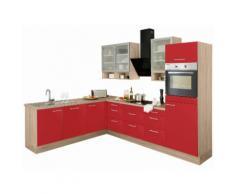 OPTIFIT Winkelküche ohne E-Geräte »Aue« rot, mit Schubkästen