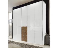 Kleiderschrank mit edler Glasfront beige, Breite 250 cm, 5-türig, »Shanghai«, mit Schubkästen, WIEMANN