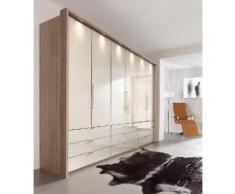 Panorama-Falttürenschrank mit Glasfront in 3 Breiten »Loft« braun, Breite 300cm, mit Schubkästen, WIEMANN