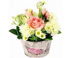 Kunstpflanze weiß, B/T/H, »Gesteck Rosen in Zinktopf«, yourhome