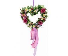 Kunstpflanze rosa, »Rattan-Herz Buchs/Ranunkel 31 cm«, yourhome