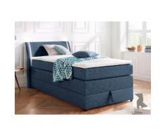 Boxspringbett mit Bettkasten und LED-Beleuchtung blau, 100x200cm, Härtegrad 2, Breckle