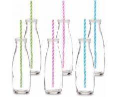 Trinkflasche mit Strohhalm transparent, ZELLER PRESENT