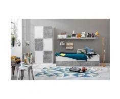 Jugendzimmer-Set »Canaria« grau, Weiß matt/Beton-Optik, pflegeleichte Oberfläche, FSC®-zertifiziert, yourhome