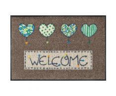 Fußmatte »Welcome Hearts« braun, L/B: 75/50cm, 7mm, fußbodenheizungsgeeignet, strapazierfähig, WASH+DRY BY KLEEN-TEX