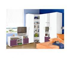 Jugendzimmer-Set lila, mit 3-trg. Kleiderschrank, yourhome