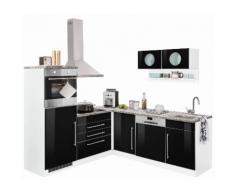 Winkelküche mit E-Geräten »Keitum« schwarz, mit Schubkästen, Held Möbel