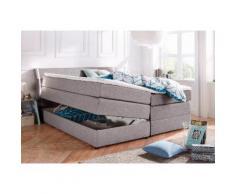 Boxspringbett mit Bettkasten und LED-Beleuchtung grau, 160x200cm, Härtegrad 2, Breckle