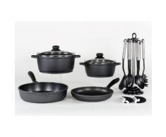 KRÜGER Aluguss-Kochserie 13-teilig schwarz, Ø 20, 24, 24, 28 plus Küchenhelfer-Set