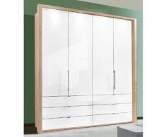 Panorama-Falttürenschrank mit Glasfront in 3 Breiten beige, Breite 200cm, »Loft«, mit Schubkästen, WIEMANN