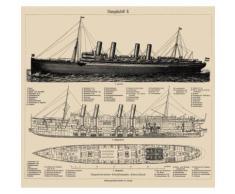 Fototapete »Dampfschiff« bunt, L/B: 280cm / 300cm, pflegeleichte Oberfläche, FSC®-zertifiziert, rasch