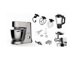 Multifunktions-Küchenmaschine mit großer Edelstahlschüssel und umfangreichem Zubehör silber, privileg