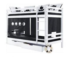 Hoppekids Etagenbett schwarz, Liegefläche 70/160cm, »Pirat«, FSC®-zertifiziert