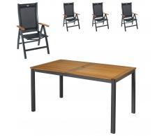 Gartenmöbel-Set San Francisco/Prestige (89x150, 4 Stühle, anthrazit)