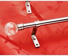 Gardinenstange im Edelstahl-Look (120-210, Endknopf Glaskugel)