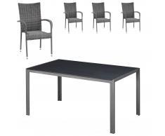 Gartenmöbel-Set Chicago/Palermo (90x150, 4 Stühle, grau)