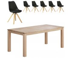 Essgruppe Skanderborg/Blokhus (180x90, 6 Stühle, schwarz)