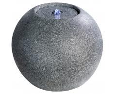 Gartenbrunnen Kugel mit LED-Beleuchtung (grau)