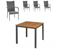 Gartenmöbel-Set San Francisco/Palermo (90x90, 4 Stühle, grau)