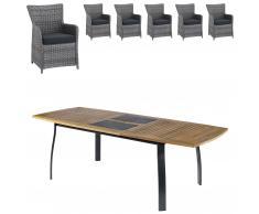 Gartenmöbel-Set Kingston/Havanna (102,9x180, ausziehbar, 6 Komfortsessel, grau)