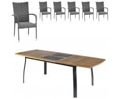 Gartenmöbel-Set Kingston/Palermo (102,9x180, ausziehbar, 6 Stühle, grau)