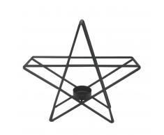 Metallstern mit Teelichthalter (schwarz)