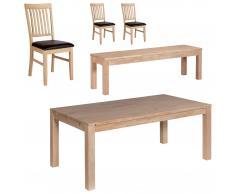 Essgruppe Nordic Oak (95x175, 3 Stühle, Bank)