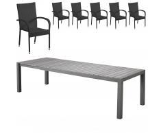 Gartenmöbel-Set Miami XXL/Palermo (95x205-275, 6 Stühle, schwarz)