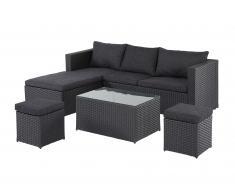 Garten-Lounge-Set Texas (4-teilig, Polyrattan, schwarz)