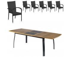 Gartenmöbel-Set Kingston/Palermo (102,9x180, ausziehbar, 6 Stapelstühle)