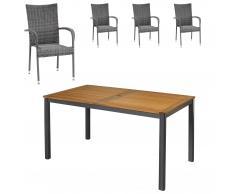 Gartenmöbel-Set San Francisco/Palermo (89x150, 4 Stühle, graumix)