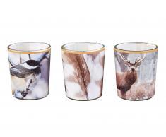 Kerzen im Glas Winterdesign (3er Set)